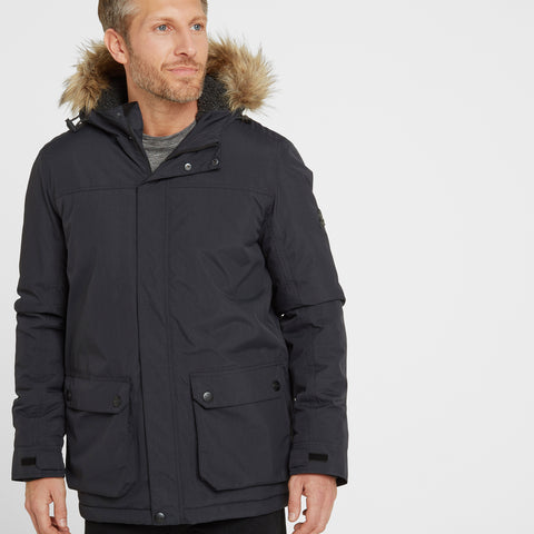 Radial Mens Waterproof Parka Jacket - Black