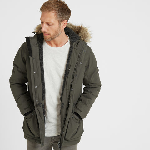 Radial Mens Waterproof Parka Jacket - Dark Khaki