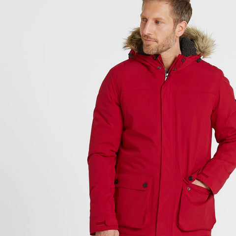Radial Mens Waterproof Parka Jacket - Chilli Red
