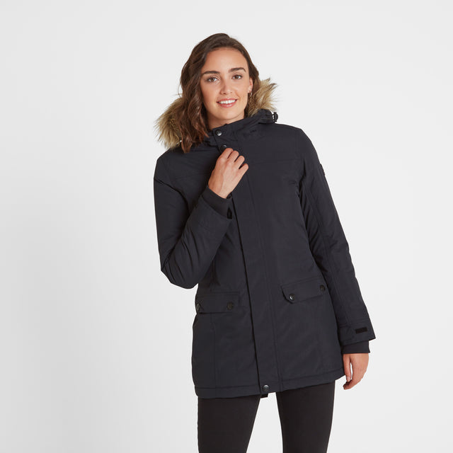 Radial Womens Waterproof Parka Jacket - Black image 1