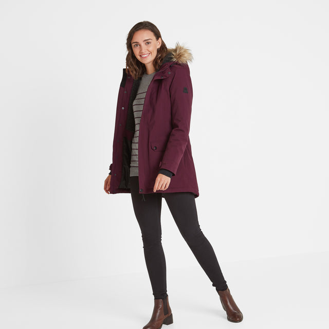 Radial Womens Waterproof Parka Jacket - Aubergine image 2