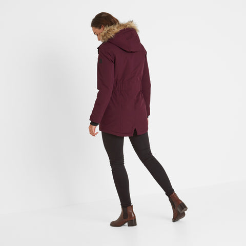 Radial Womens Waterproof Parka Jacket - Aubergine