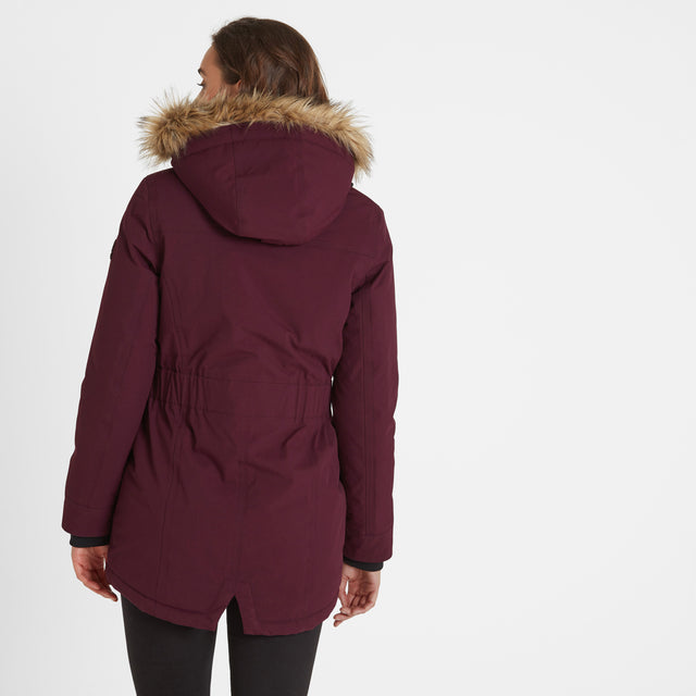 Radial Womens Waterproof Parka Jacket - Aubergine image 3