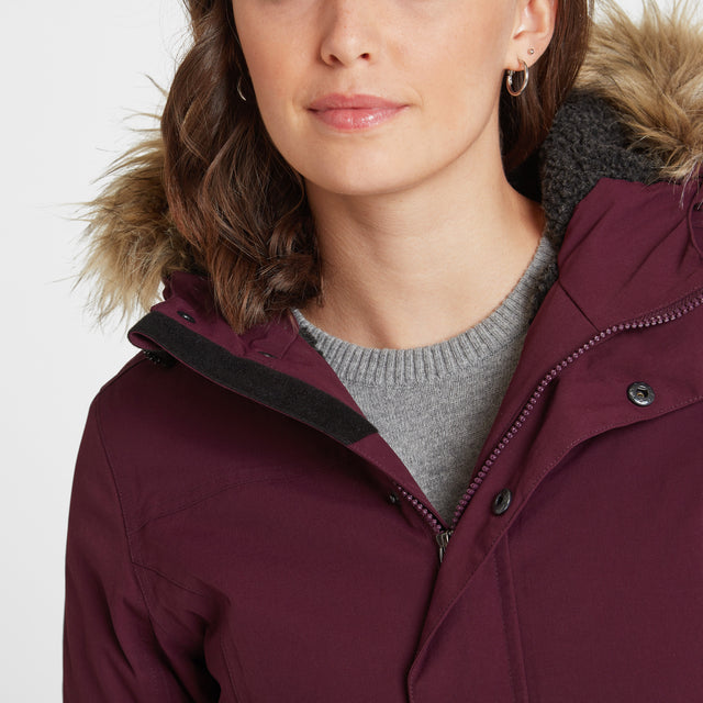 Radial Womens Waterproof Parka Jacket - Aubergine image 5