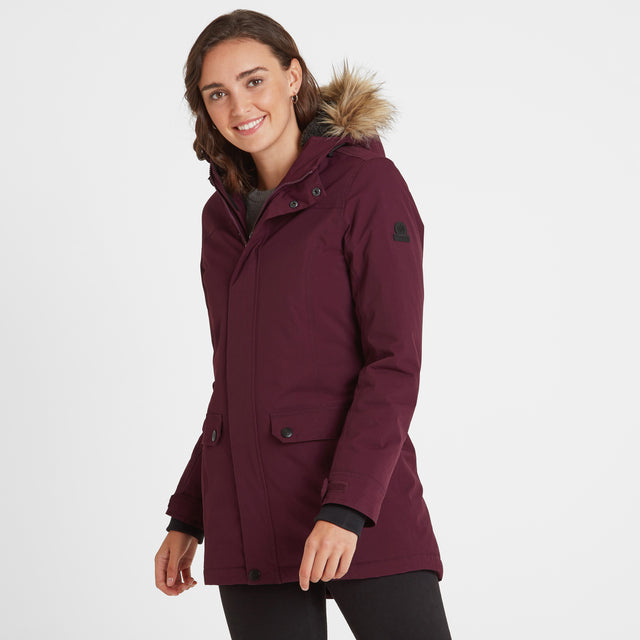Radial Womens Waterproof Parka Jacket - Aubergine image 1