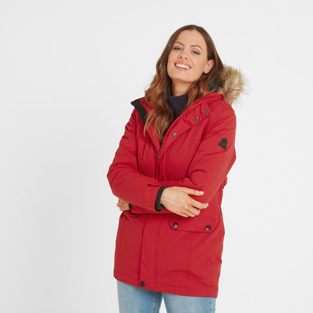 Radial Womens Waterproof Parka Jacket - Rouge Red image 1