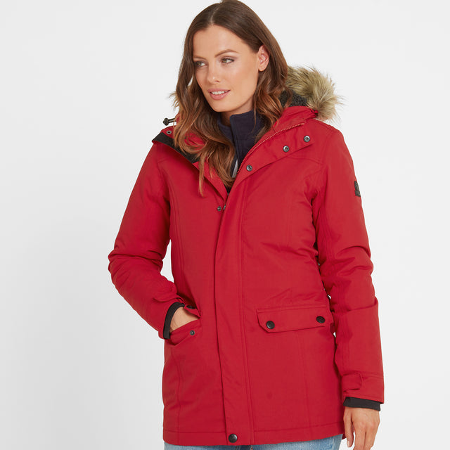 Radial Womens Waterproof Parka Jacket - Rouge Red image 2