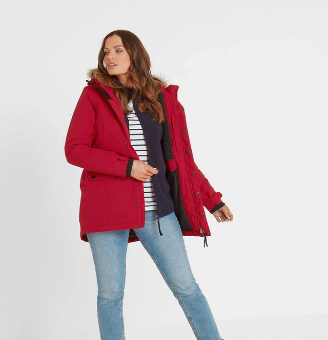 Radial Womens Waterproof Parka Jacket - Rouge Red image 3