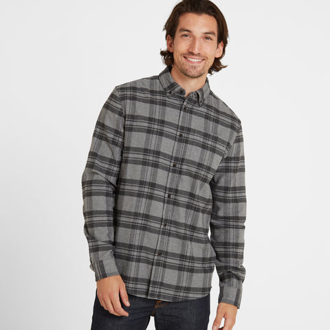 Ralph Mens Long Sleeve Flannel Check Shirt - Grey Marl