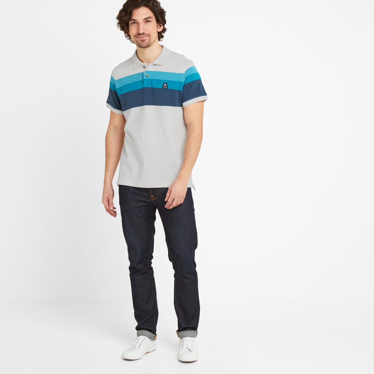 Ramsden Mens Stripe Polo Shirt - Snow Marl/Caribbean Blue image 4