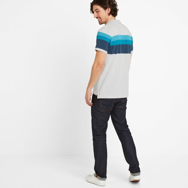 Ramsden Mens Stripe Polo Shirt - Snow Marl/Caribbean Blue image 2