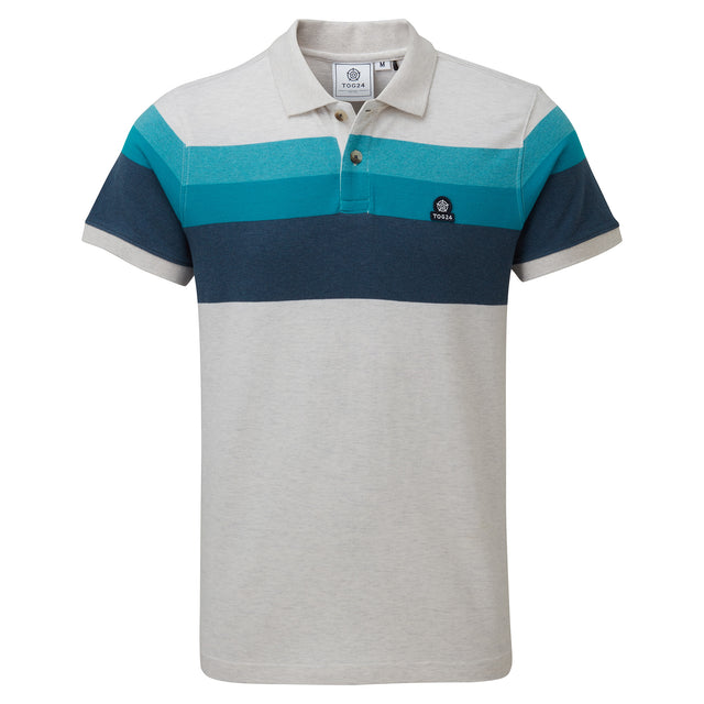 Ramsden Mens Stripe Polo Shirt - Snow Marl/Caribbean Blue image 3