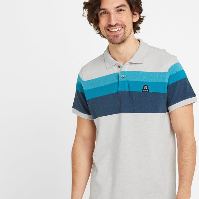 Ramsden Mens Stripe Polo Shirt - Snow Marl/Caribbean Blue image 1