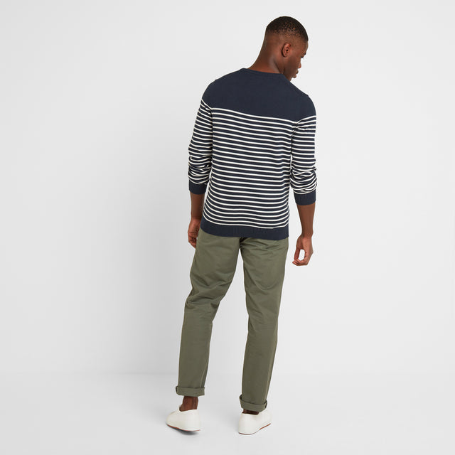 Reuben Mens Stripe Jumper - Dark Indigo image 2