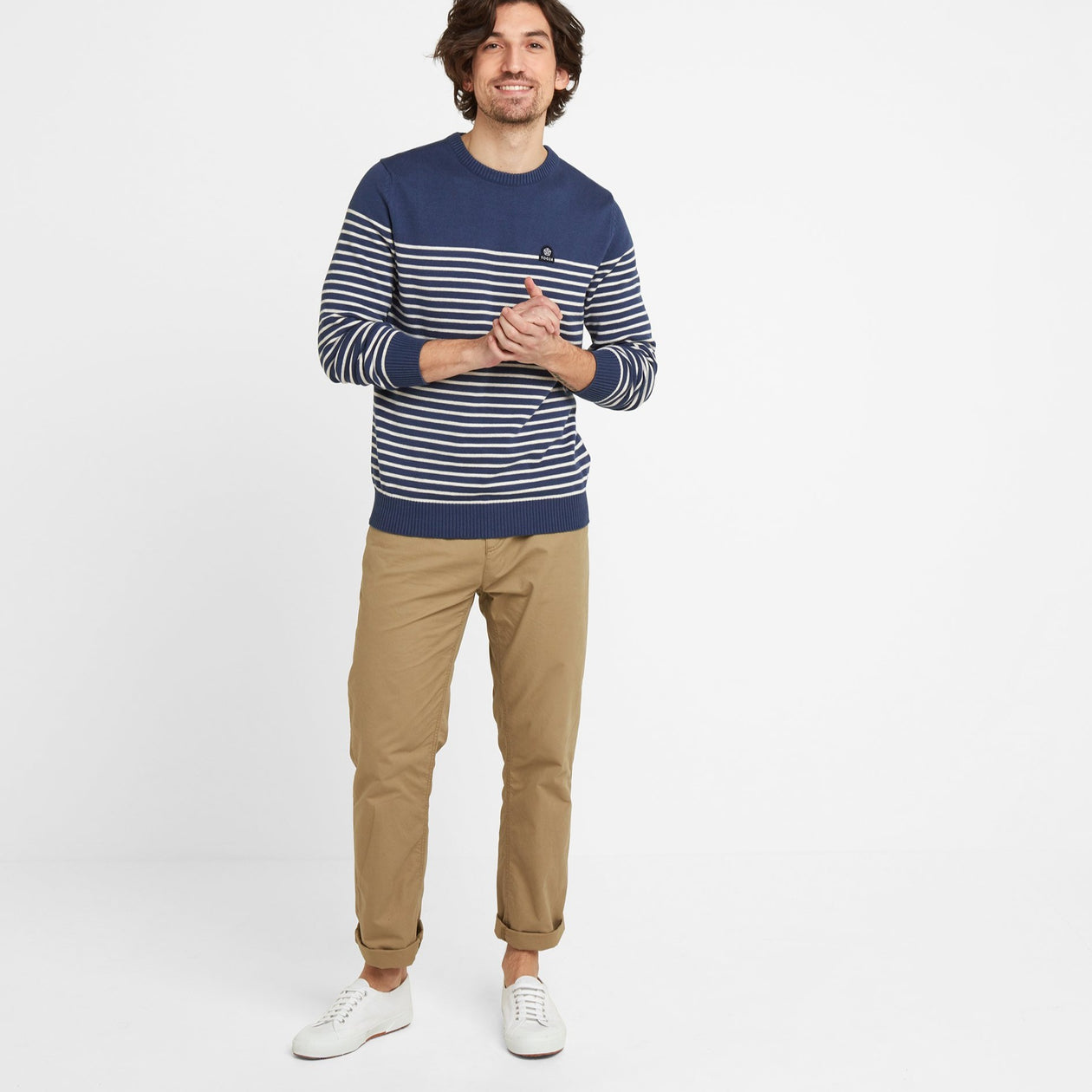 Reuben Mens Stripe Jumper - Denim image 4