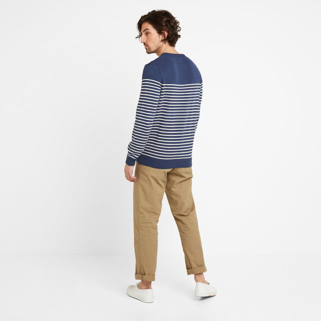 Reuben Mens Stripe Jumper - Denim image 2