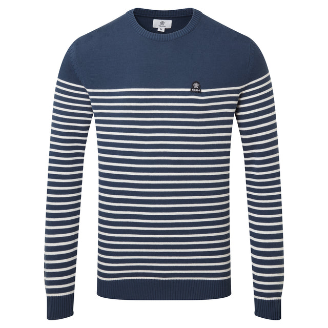 Reuben Mens Stripe Jumper - Denim image 3