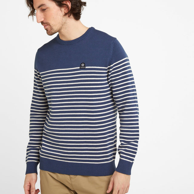 Reuben Mens Stripe Jumper - Denim image 1
