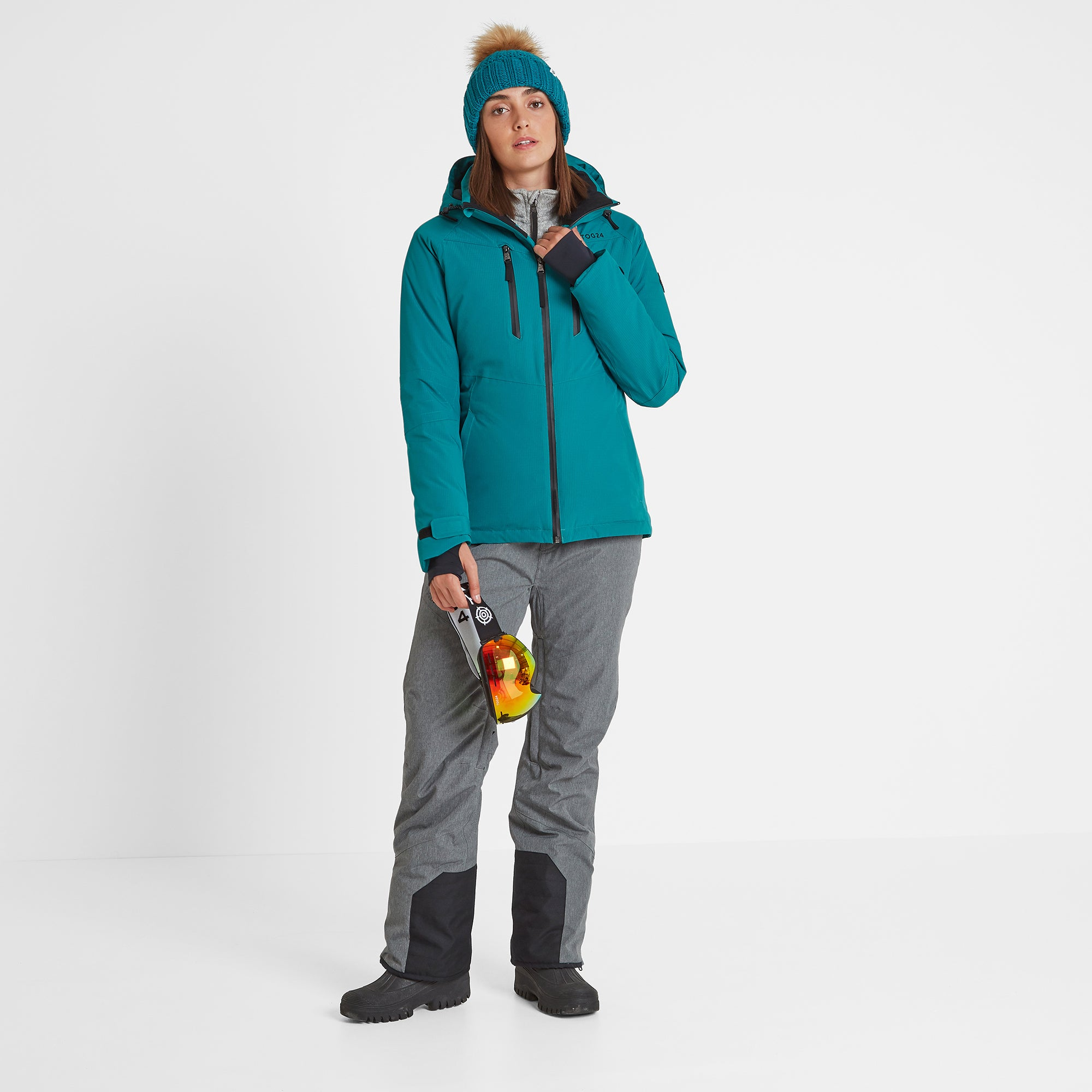 Riley Womens Waterproof Down Fill Ski Jacket - Topaz