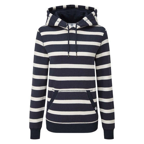 Ruth Womens Hoody Stripe - Dark Indigo/White
