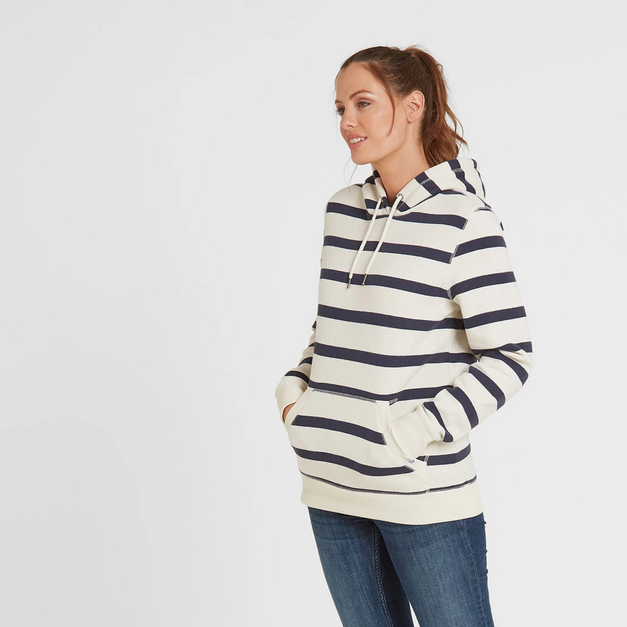 Ruth Womens Hoody Stripe - White/Dark Indigo image 4