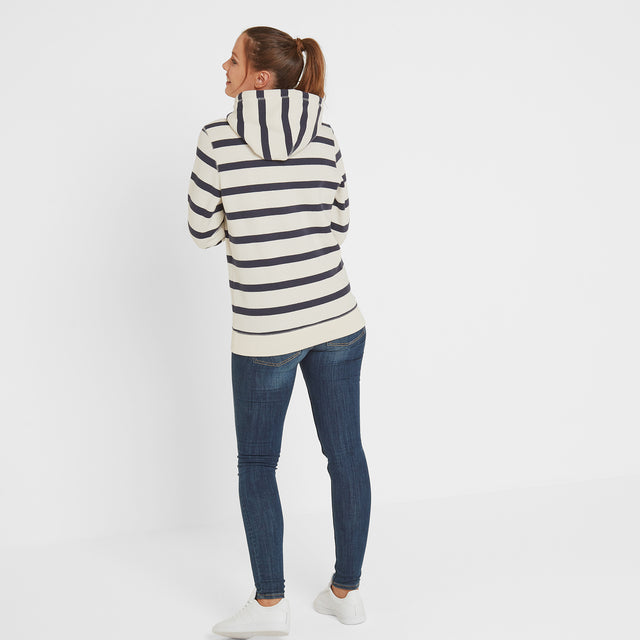Ruth Womens Hoody Stripe - White/Dark Indigo image 2
