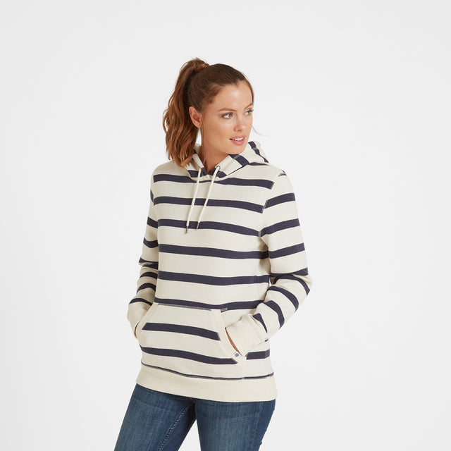 Ruth Womens Hoody Stripe - White/Dark Indigo image 1