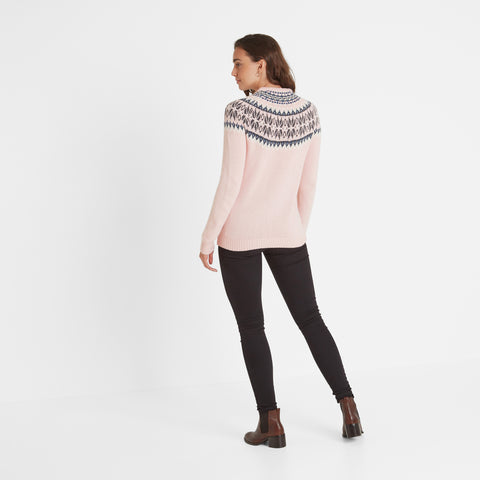 Sadie Womens Fairisle/Pattern Jumper - Rose Pink