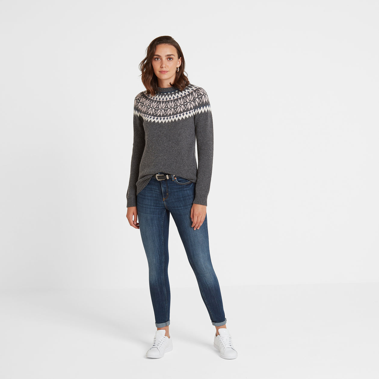 Sadie Womens Fairisle/Pattern Jumper - Dark Grey Marl image 4