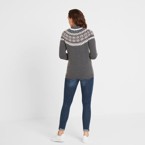 Sadie Womens Fairisle/Pattern Jumper - Dark Grey Marl