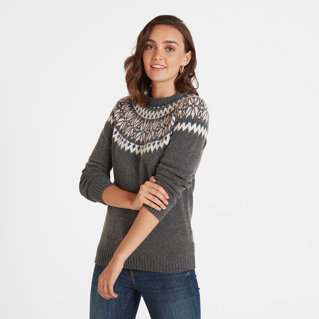 Sadie Womens Fairisle/Pattern Jumper - Dark Grey Marl image 1