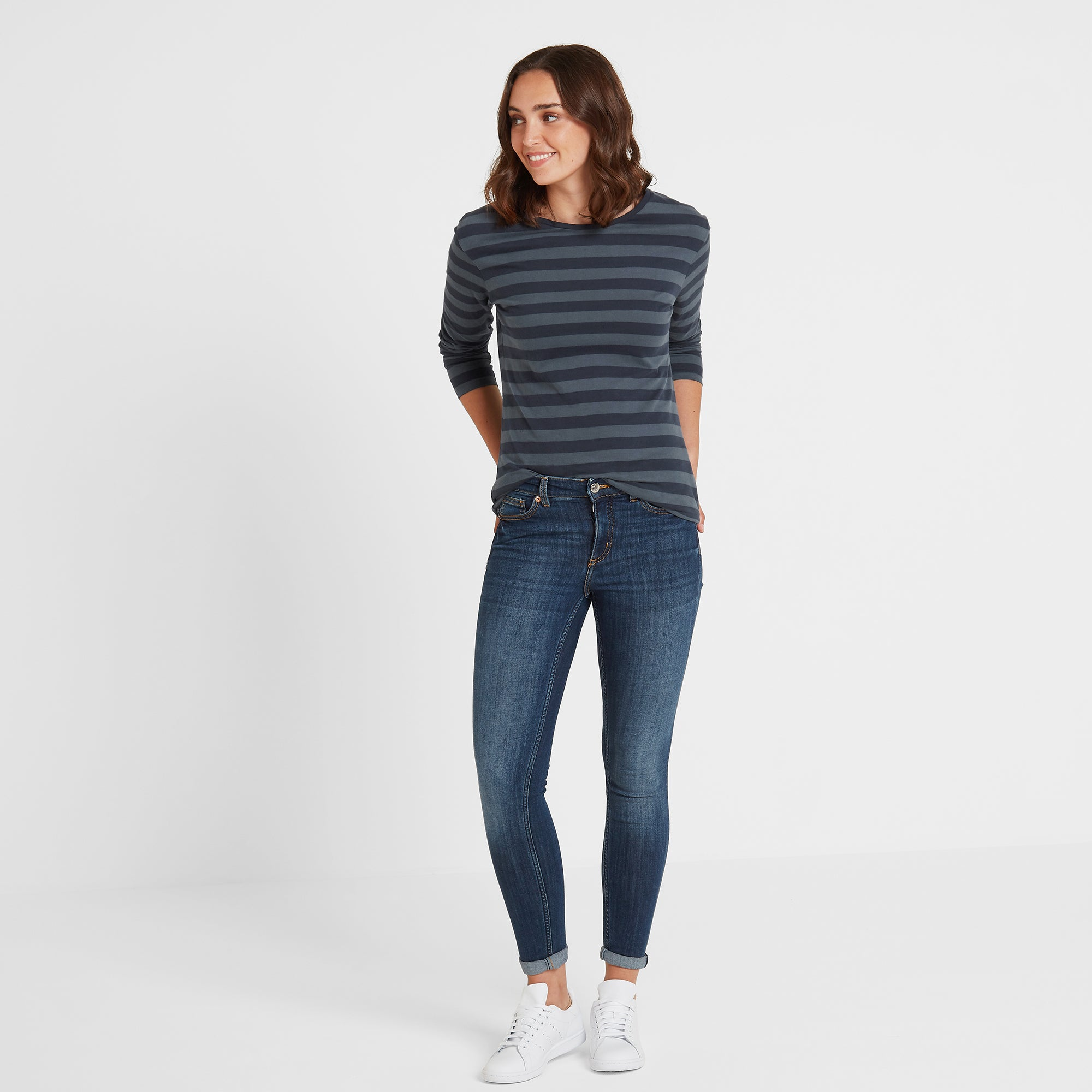 Sandsend Womens Long Sleeve Stripe T-Shirt - Dark Indigo