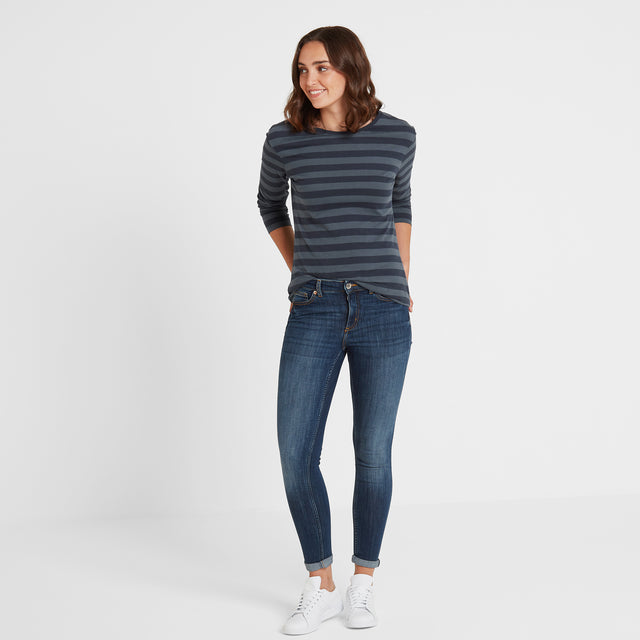 Sandsend Womens Long Sleeve Stripe T-Shirt - Dark Indigo image 2