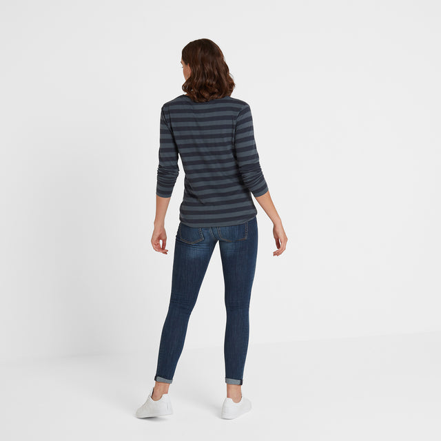 Sandsend Womens Long Sleeve Stripe T-Shirt - Dark Indigo image 3