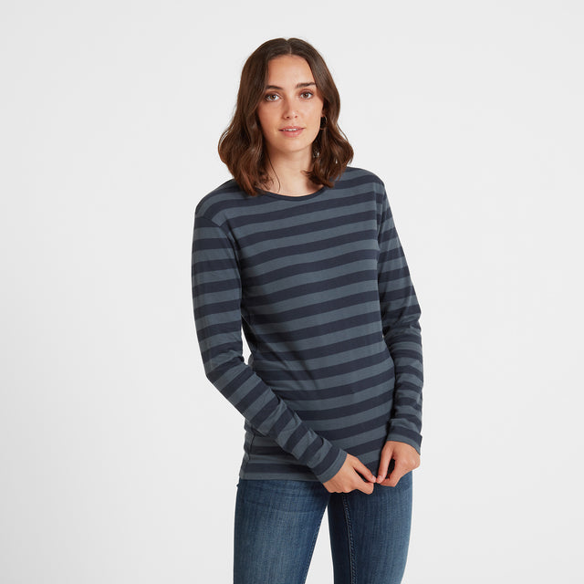 Sandsend Womens Long Sleeve Stripe T-Shirt - Dark Indigo image 1