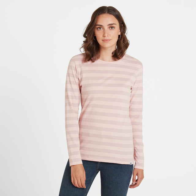 Sandsend Womens Long Sleeve Stripe T-Shirt - Rose image 1