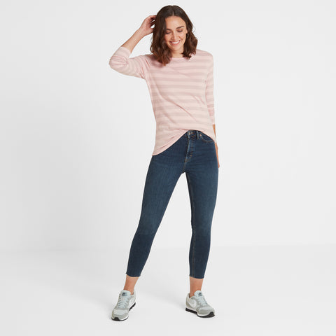 Sandsend Womens Long Sleeve Stripe T-Shirt - Rose