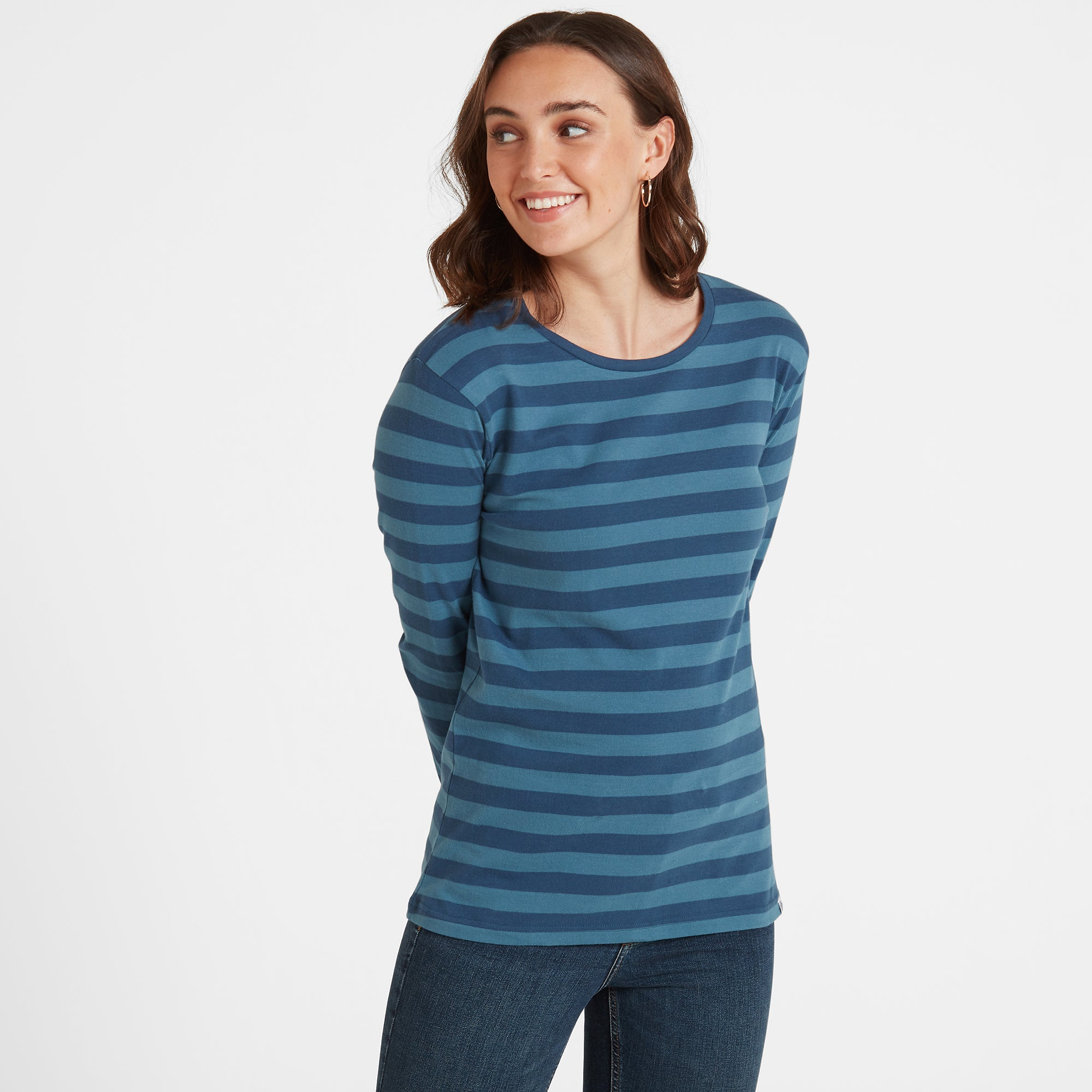 Sandsend Womens Long Sleeve Stripe T-Shirt - Atlantic Blue