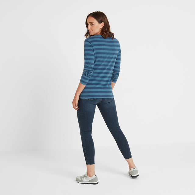 Sandsend Womens Long Sleeve Stripe T-Shirt - Atlantic Blue image 3