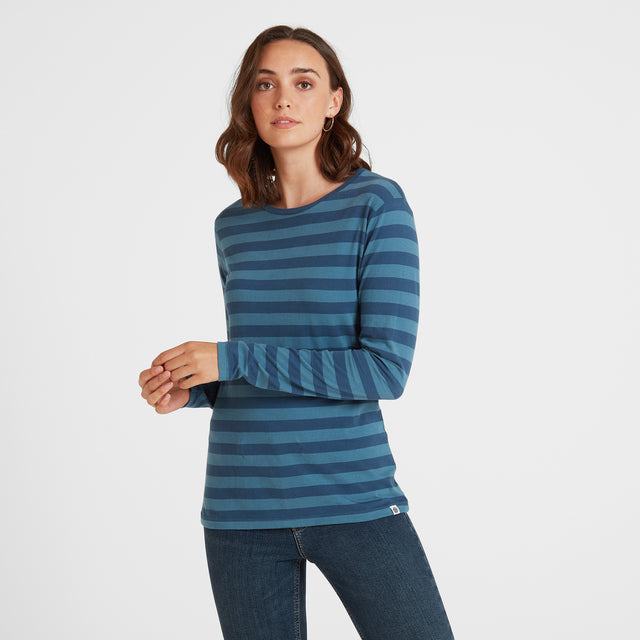 Sandsend Womens Long Sleeve Stripe T-Shirt - Atlantic Blue image 1