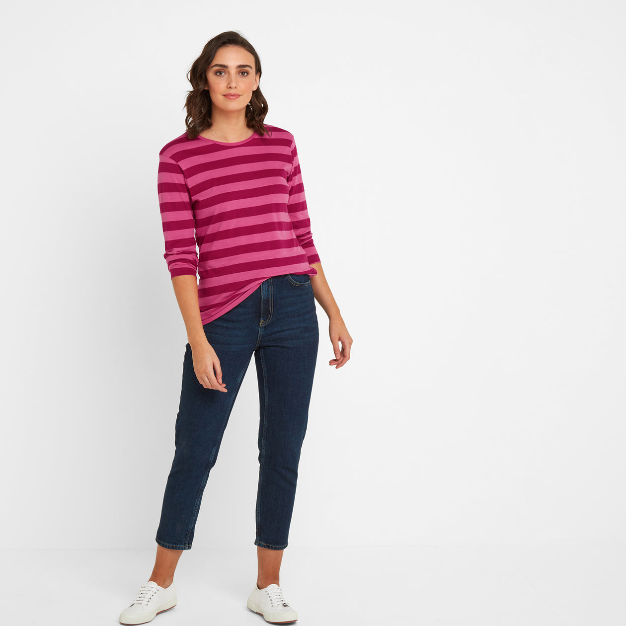 Sandsend Womens Long Sleeve Stripe T-Shirt - Sangria image 4