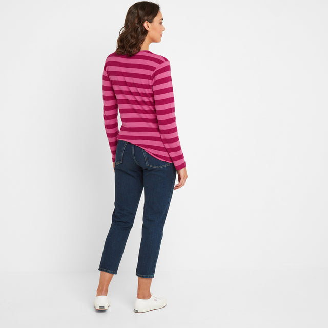 Sandsend Womens Long Sleeve Stripe T-Shirt - Sangria image 2