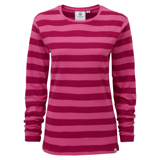 Sandsend Womens Long Sleeve Stripe T-Shirt - Sangria image 3