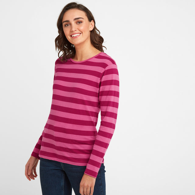 Sandsend Womens Long Sleeve Stripe T-Shirt - Sangria image 1