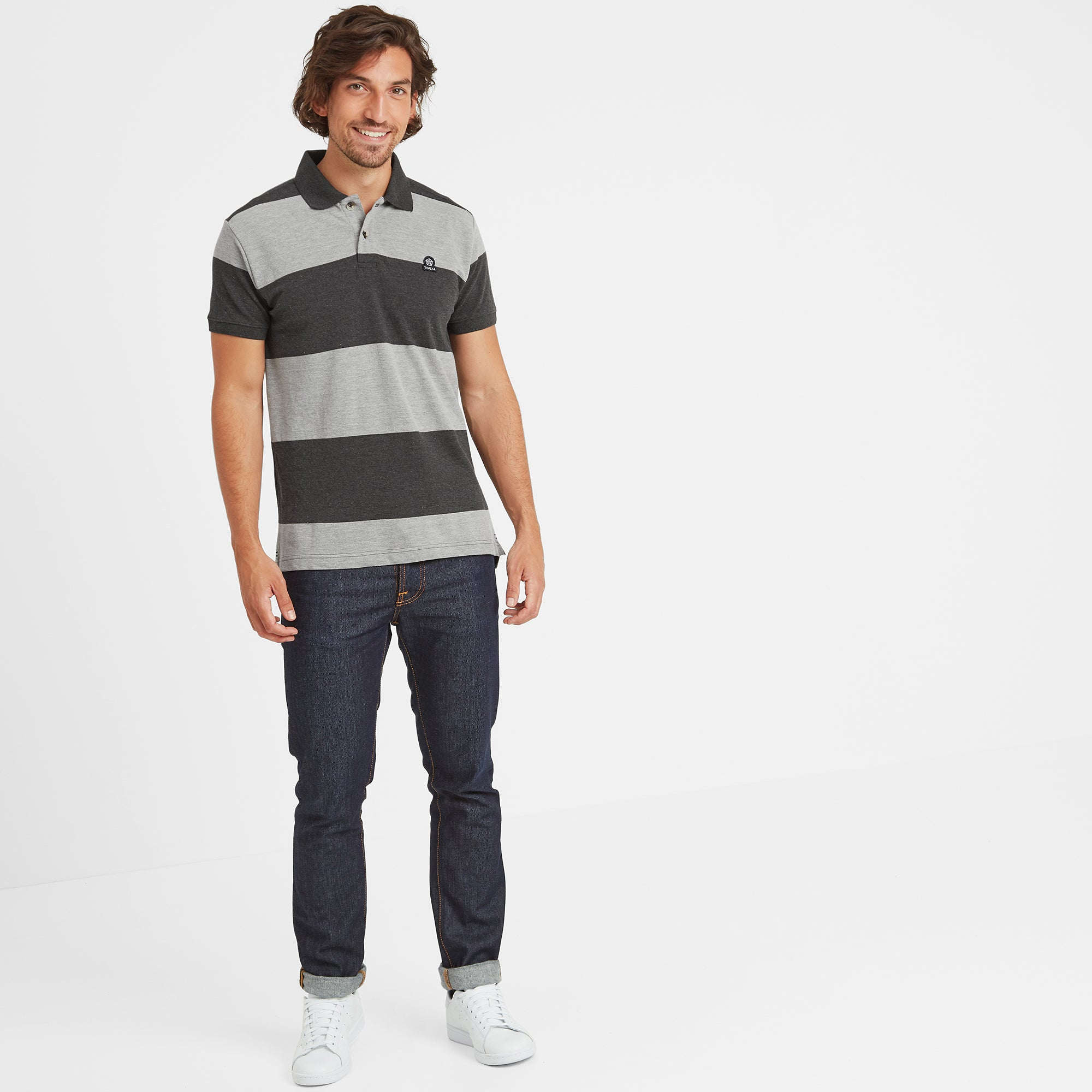 Seacroft Mens Pique Stripe Polo - Grey Marl Stripe