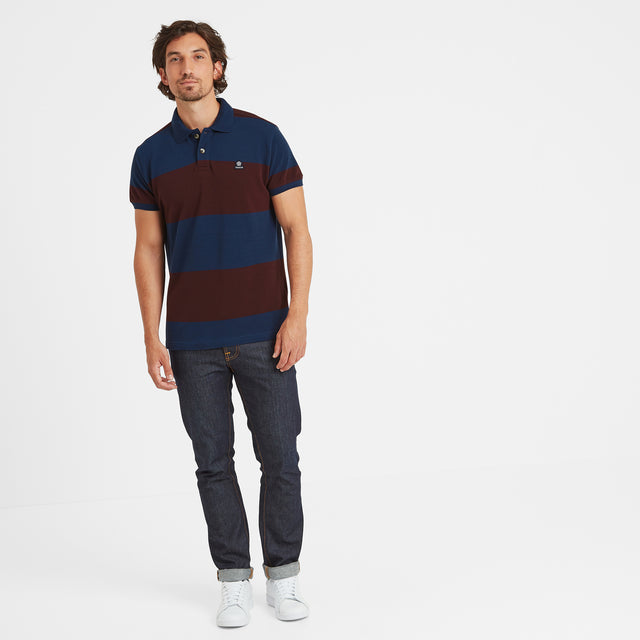 Seacroft Mens Pique Stripe Polo - Naval Blue Stripe image 2
