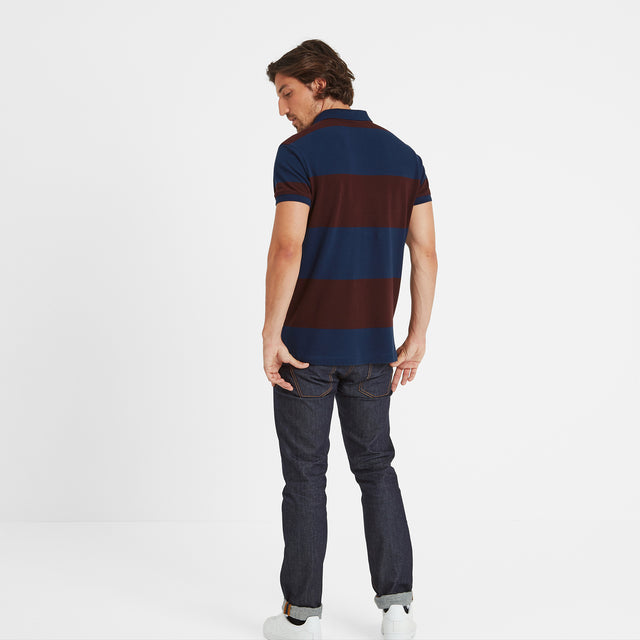 Seacroft Mens Pique Stripe Polo - Naval Blue Stripe image 3