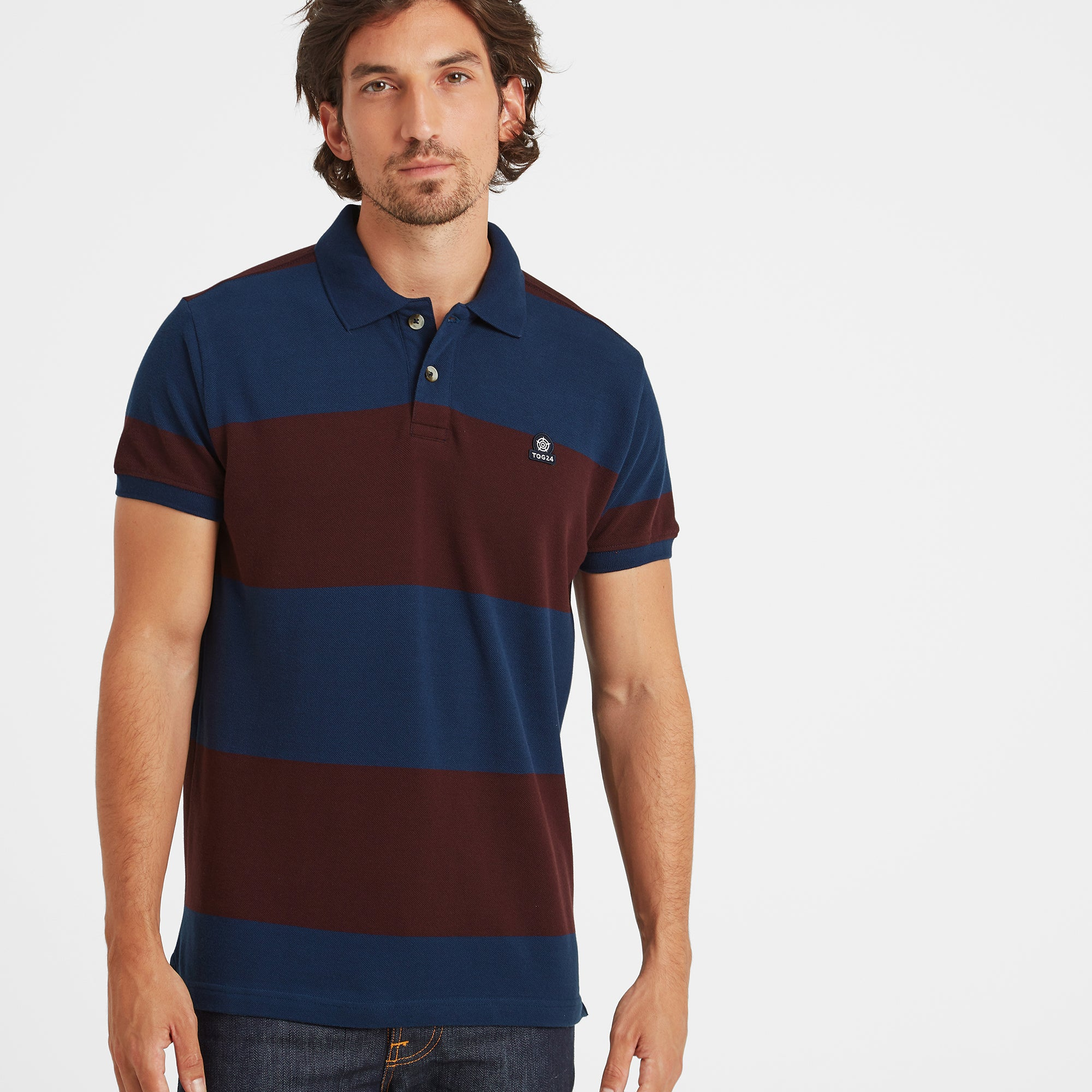 Seacroft Mens Pique Stripe Polo - Naval Blue Stripe