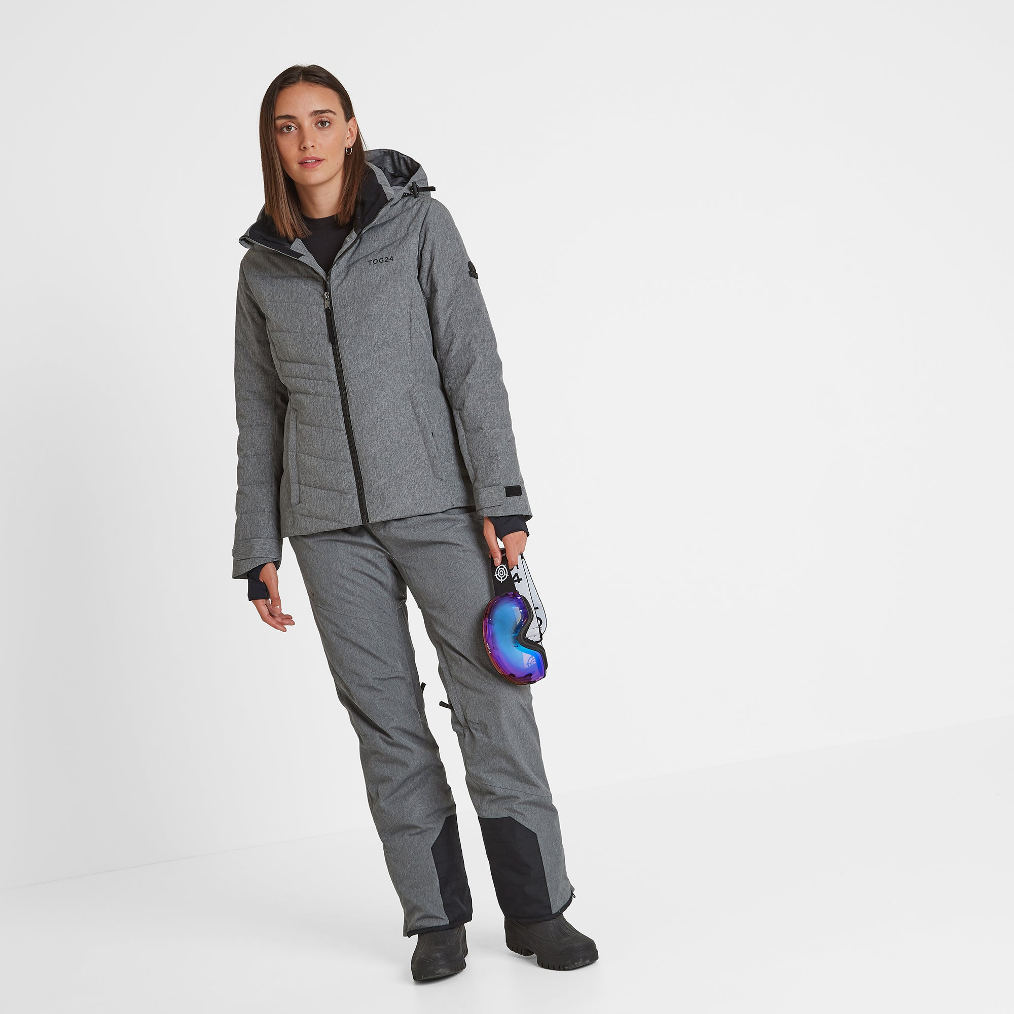 Shaw Womens Down Ski Jacket - Grey Marl