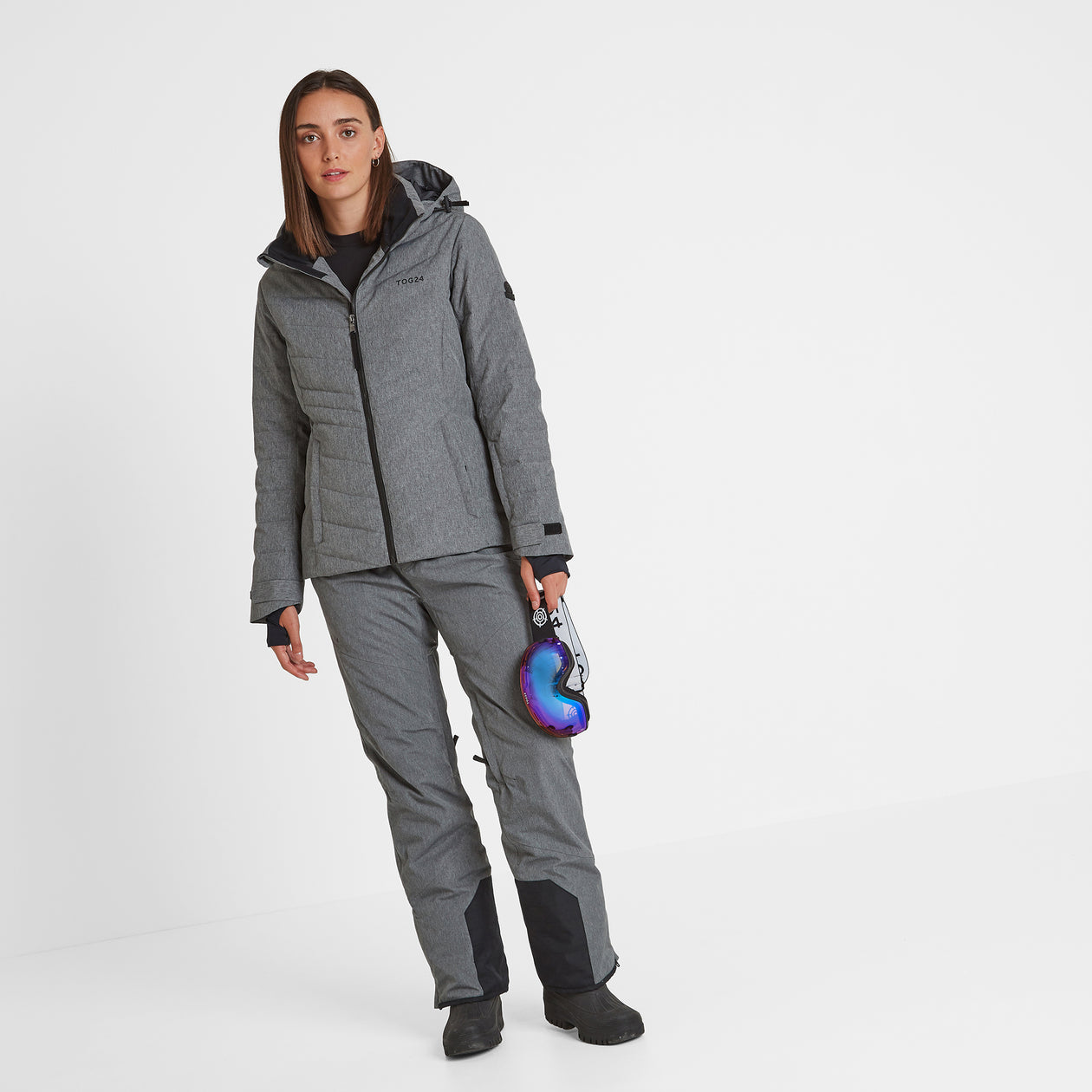 Shaw Womens Down Ski Jacket - Grey Marl image 4